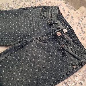 Lauren Conrad Cute Heart Polka Dot Blue Jeans 0